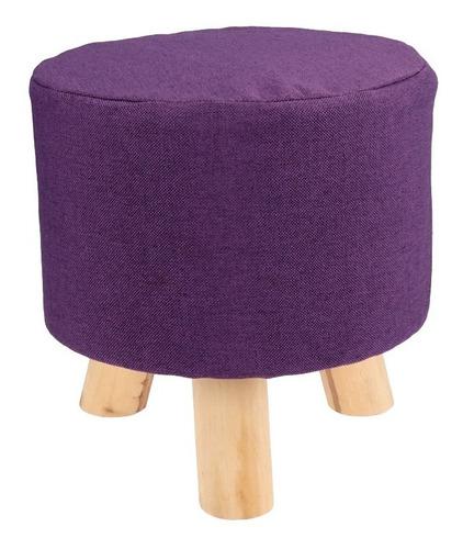 puff banco redondo violeta oscuro en madera para living!!!