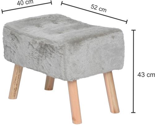 puff banqueta fat com 4 pés de madeira, pelúcia areia
