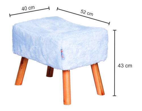 puff banqueta fat com 4 pés de madeira, pelúcia branco