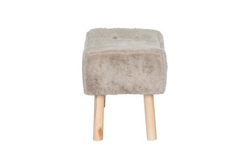 puff banqueta fat com 4 pés de madeira, pelúcia camel