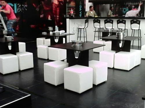 puff bar con mesa en madera