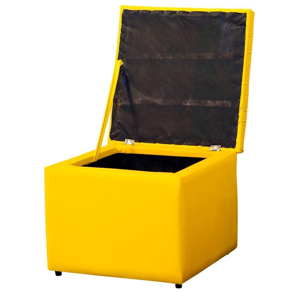 Puff Bau Para Quarto Mercado Livre ~   54cm Porta Objetos Quarto Corino Amarelo  R$ 239,00 em Mercado Livre