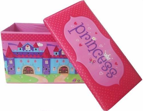 puff bau infantil organizadora guardar brinquedos caixa rosa