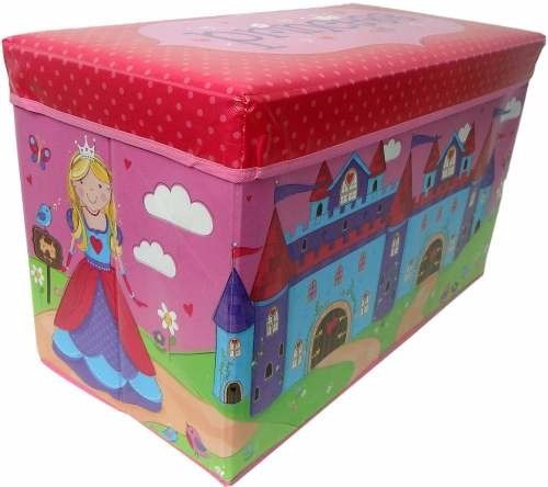 puff bau infantil organizadora guardar brinquedos rosa caixa