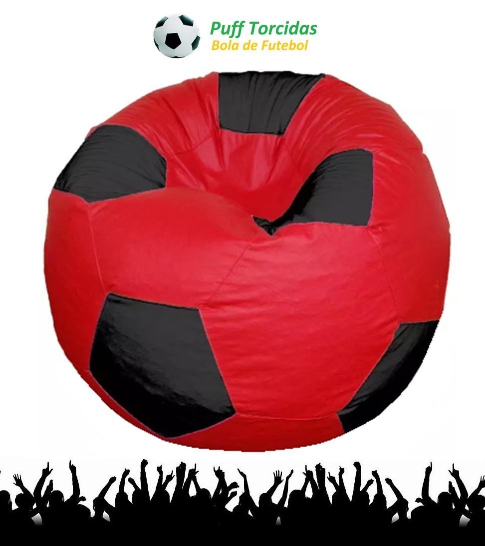 puff bola de futebol redondo vermelho e preto 90cm gg vazio! Carregando  zoom. 0bfc9925acaee
