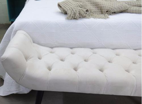 puff capitonê beira de cama 1,40mt suede areia - recamier