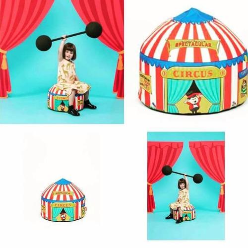 puff con diseño carpa circus - circo - los originales