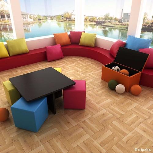 puff cuadrado con mesa..todos los colores