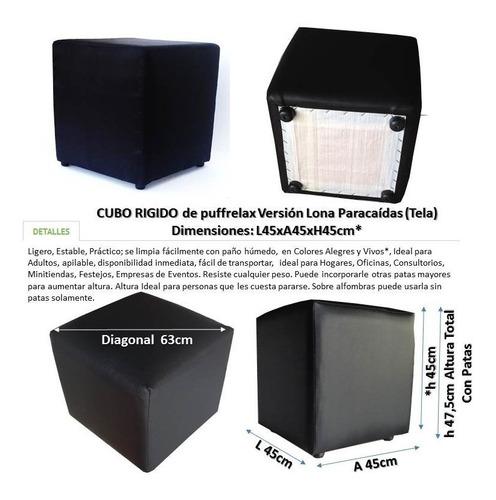 puff cubo rígido tapizados 45x45xh45cm lona tela envíos vzla