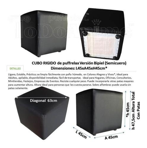 puff cubo rigido tapizados semicuero 45x45xh45cm envíos vzla