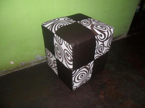 puff  cubo tapizados elaborados en madera
