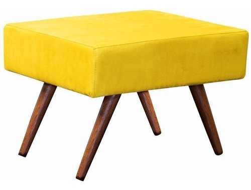 puff decorativo charme pé palito sala suede amarelo