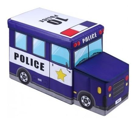 puff infantil com bau formato de onibus caixa organizadora