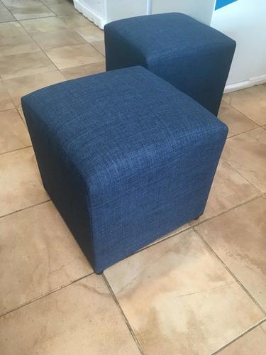 puff isla cuadrado madera tapizado a eleccion 40x40 mi casa
