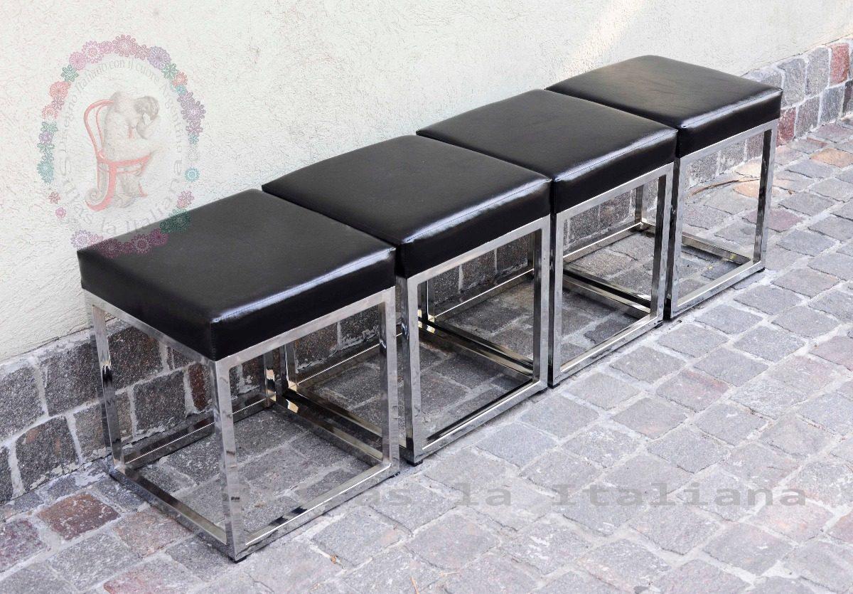 Excelente Negro De Cuero Ecológico Muebles Otomana Viñeta - Muebles ...