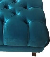 puff puf pufe banquinho retrô luís xv capitonê azul quarto