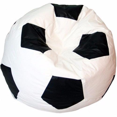 puff pufe puf bola futebol 80cm diâmetro branco com preto