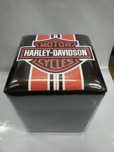 puff quadrado decorativo harley-davidson