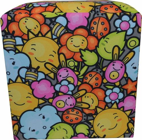 puff quadrado decorativo tecido floral estampado patchwork
