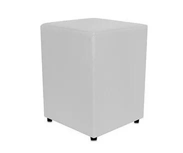 puff quadrado em courino - cor branco