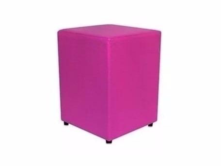 puff quadrado em courino - cor roxo