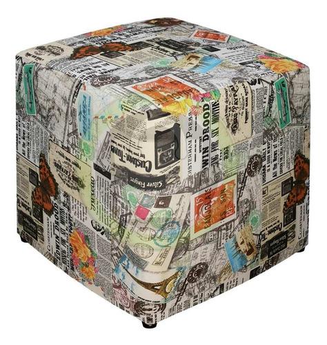 puff quadrado retro jornal pronta entrega