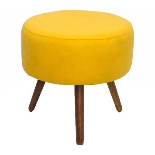 puff redondo classic sued amarelo pes palito exclusivo mansi