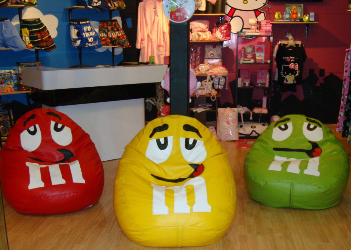 Puff Silla De M&m En Cuero Tex Super Divertido Puff Puf Pera ...