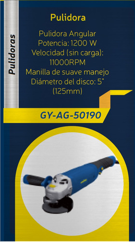 pulidora angular goodyear 1200w 11000rpm dd 125mm