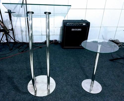 púlpito de aço inox e vidro + mesa de inox e vidro
