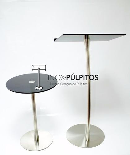 púlpito + mesa inox para igrejas (pontas cônicas)(acrl fume)