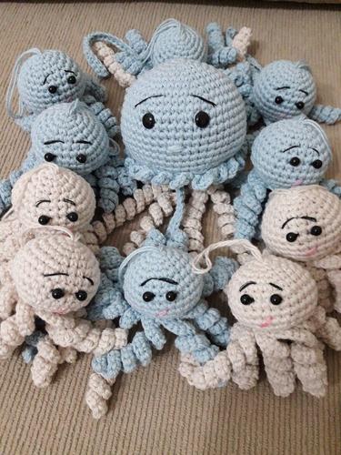 pulpito souvenir tejidos. amigurumis. apego, bebé, medusas