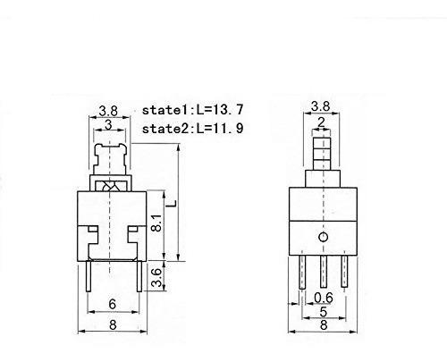 pulsador con retención 6 pines 8x8mm self-lock - arduino