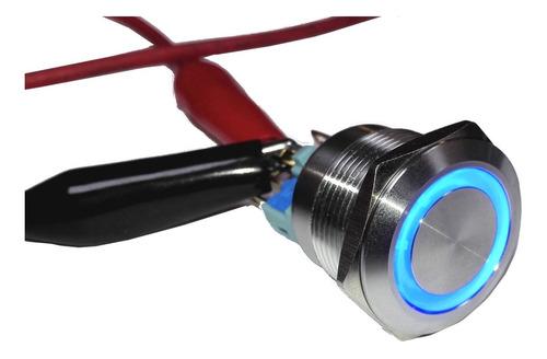 pulsador de metal azul 22mm - sin retención