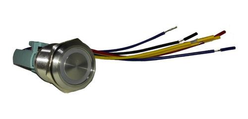 pulsador de metal led azul 22mm - con retención y cable