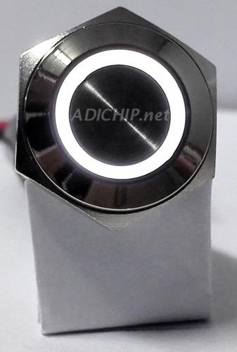 pulsador de metal led con retención - 16 mm blanco