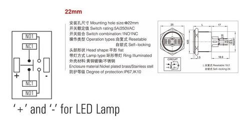 pulsador de metal led rojo 22mm sin retención