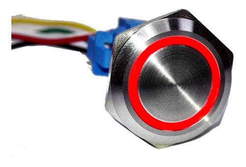 pulsador de metal led rojo 22mm - sin retención - incluye cable conector