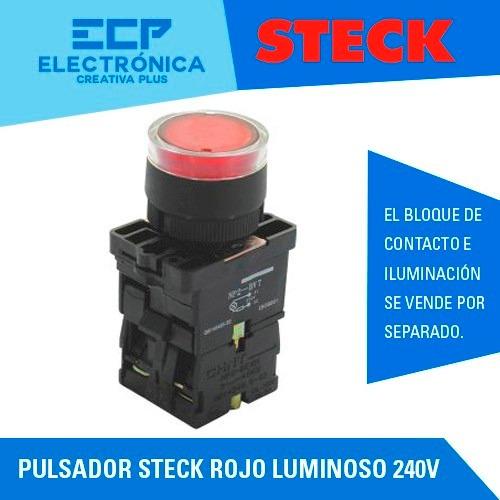 pulsador steck rojo luminoso 240v