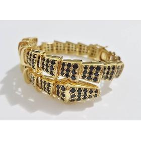 Pulseira  Bracelete Serpente Banhada Á Ouro Com Micro Zirc