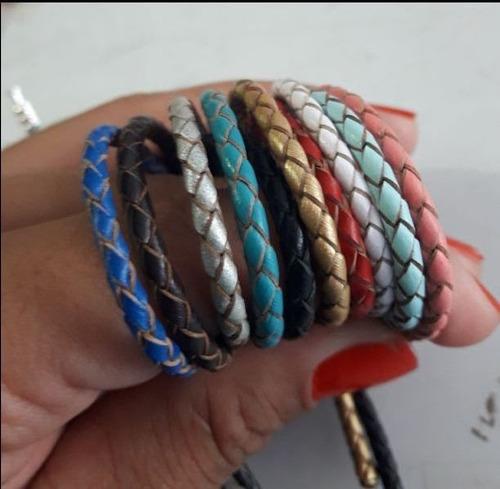 pulseira 02 voltas couro legitimo branco, rosa, azul