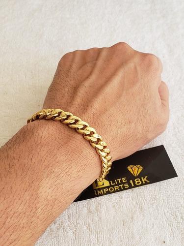 pulseira 10mm  pit bull grumet banhado a ouro 18k luxo