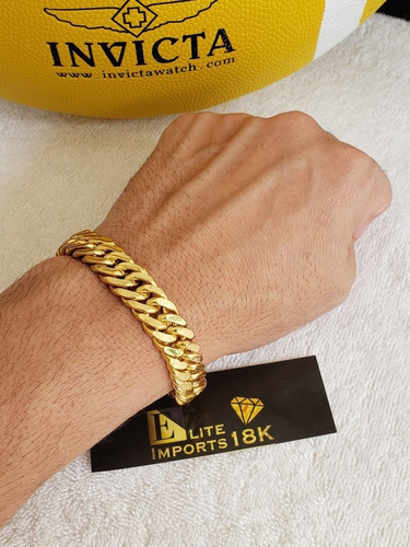 pulseira 13mm grumet lacraia banhado a ouro 18k elos duplos