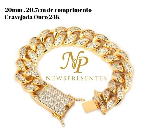 pulseira 20.7cm 20mm cravejada zircônia cúbica ouro trap