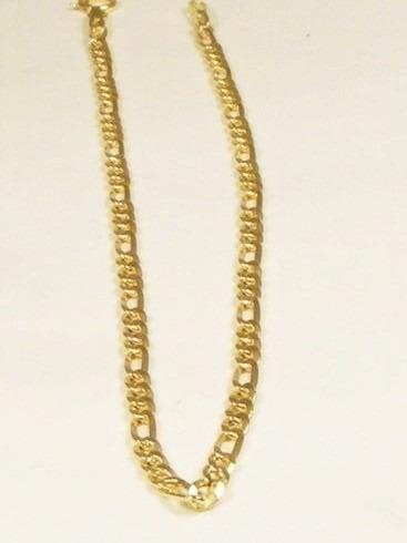 pulseira 3x1 2.5mm x 21cm em ouro 18-750