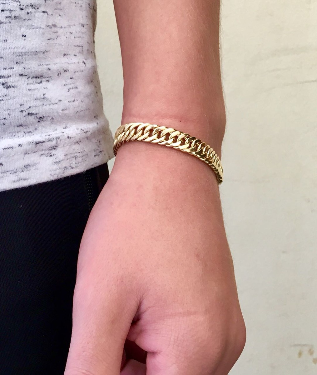 576a12ee74d2c pulseira 9mm banhada ouro 18k masculina feminina de 17- 21mm. Carregando  zoom.