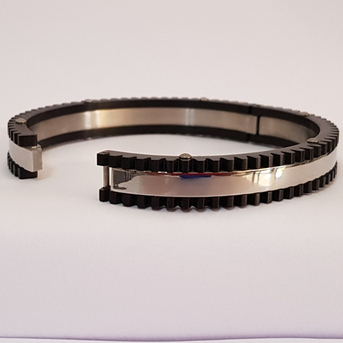 pulseira aço inox preta com prata