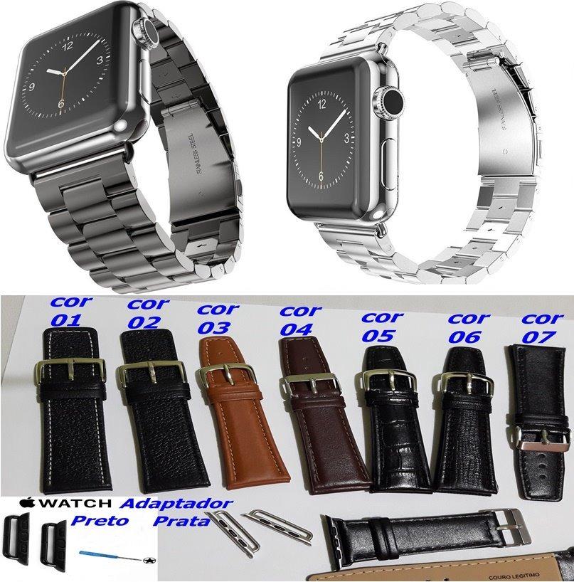 7e87ca3a1b0 Pulseira Aço Inox +pulseira Pulseira Couro Apple Watch 42 44 - R ...