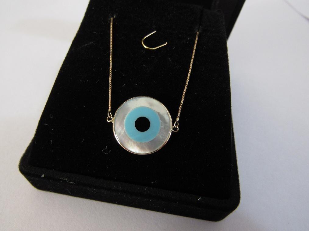 68b8494c4f02a pulseira adulto veneziana olho grego ouro 18k com garantia! Carregando zoom.