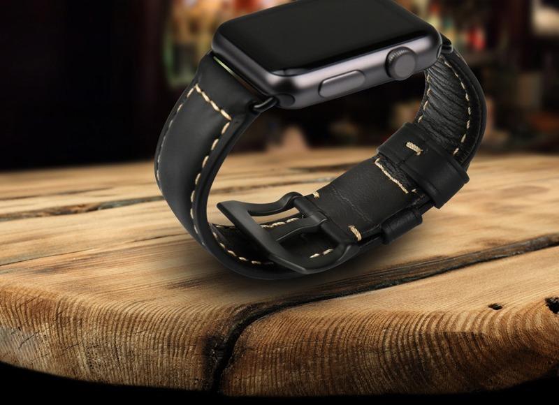 8201c3b4fce pulseira apple watch 42mm lançamento couro legítimo preto. Carregando zoom.